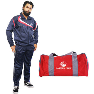 Eastern Club Mens Solid Track Suit and Gym Duffel Bag Combo Pack
