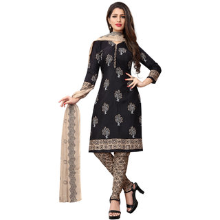 Beelee Typs Black Cotton Printed Dress Material (Unstitched)
