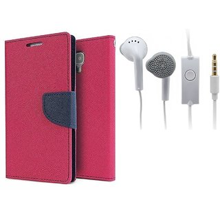 Reliance Lyf Wind 6  Cover / Wallet flip for Lyf Wind 6  ( PINK ) With Earphone(SAM)