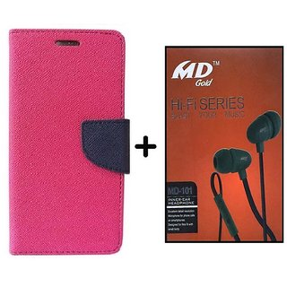 HTC Desire 616  Cover / Wallet flip for HTC 616  ( PINK ) With Universal Earphone(A50EAR)