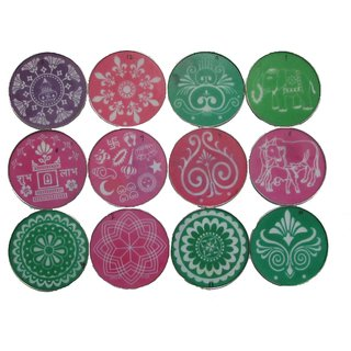 Avneesh Rangoli Stencil Round Shape (8 x 8 Inch) Set of 12 Piece