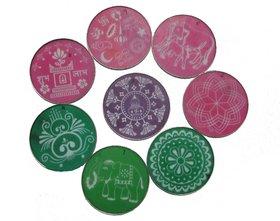 Avneesh Rangoli Stencil Round Shape(8 x 8 Inch) (Set of 8 Piece)