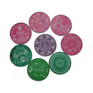 Avneesh Rangoli Stencil Round Shape(8 x 8 Inch) (Set of 8 Piece)