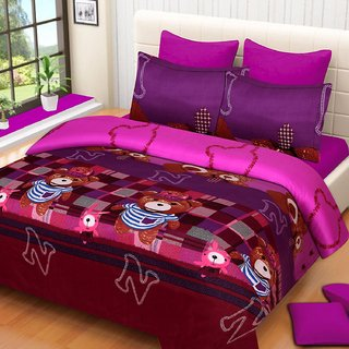 Rd Enterprises 3D Poly Cotton Bedsheet 1 Double  With 2 Pillow Cover