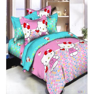 Dreams Home 3D Polyester Double bedsheet with 2 Pillow Covers