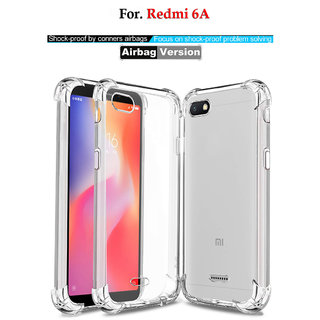 Redmi 6A - Anti-Knock Design Shock Absorbent Bumper Corners Soft Silicone Transparent Back Cover- REDMI 6A