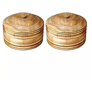 Desi Karigar Wooden Antique Handcrafted Chapati Box, Pack Of 2