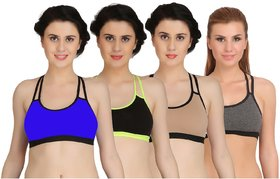 Arousy Girl's Seamless Wirefree Bra Non Padded Medium Coverage Bra For Women Racerback Style Cotton Lycra Sports Bra Pack of 4