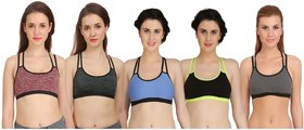 Arousy Girl's Seamless Wirefree Bra Non Padded Medium Coverage Bra For Women Racerback Style Cotton Lycra Sports Bra Pack of 5