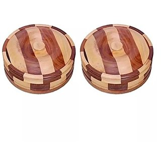 Desi Karigar Beautiful Wooden Antique Handcrafted Chapati Box  Pack Of 2