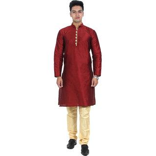 ABH Lifestyle Men's Silk blend kurta pyjama set (Maroon)