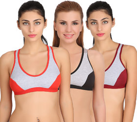Arousy Girl's Seamed Wirefree Bra Non Padded Full Coverage Bra For Women Milanche Fabric Sports Bra Pack of 3