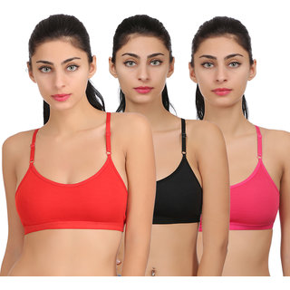 Arousy Girl's Seamed Styled Back Wirefree Bra Non Padded Full Coverage Bra For Women Cotton & Polyester Sports Bra Pack of 3