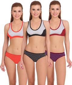 Arousy Women's Multicolor Bra Panty Set