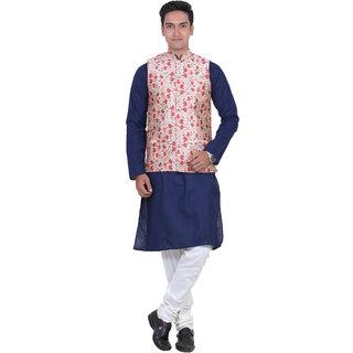 ABH Lifestyle Men's Cotton Blend Kurta Pyjama and Waistcoat ( Navy blue )