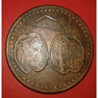 Mango  1818 E.I.Co.Temple Token One Anna Rare Copper Coin