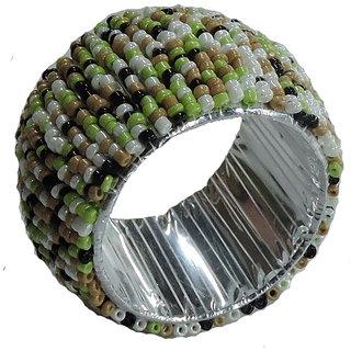 H  W Multi/Green Beaded Table Napkin Rings- Set of 2
