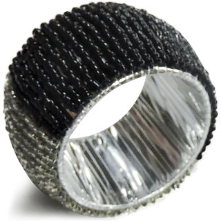 H & W Black/White Beaded Table Napkin Rings- Set of 2