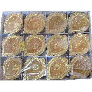 Avneesh Handmade Earthen Clay/Terracotta Oil Deepak Set of -12 Piece / (Color - Golden)(Size - 7x5x2cm)