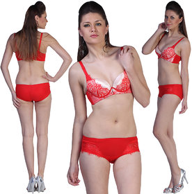 Demi-Cup Luxurious Padded Under Wired Red Bra Set