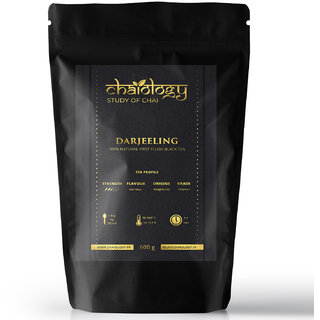 Chaiology Darjeeling Black Tea, 600g (300 Cups)  100 Natural First Flush Loose Leaf Tea (Unflavoured)