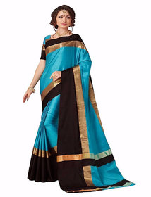 Indian Beauty Sky Blue Silk Embellished Saree With Blouse