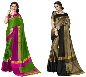 Indian Beauty Art Cotton Silk Partywear With Blouse Combo Of 02 Saree