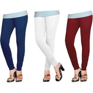 Naisargee Women's and Girl's NavyBlue-White-DarkMaroon Silk Chudidar Length Combo Leggings -(XXXL Size - Pack of 3)