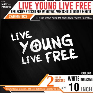 Carmetics Live young Live Free sticker for Mahindra Supro White 2Pcs Fuel lid sticker Chrome sticker - car window stickers bumber stickers adventure exterior graphics decals
