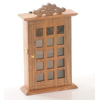 Desi Karigar Wooden Key Holder Hanger Box Checks Wall Hanging Decorative Handicraft Gift Item