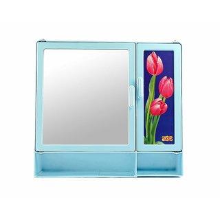 Zoom Blossom Bathroom Storage Cabinet With Storage Shelf  Mirror Blue