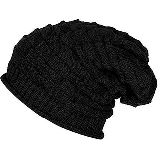 c36050072 Wrinkled Slouchy Beanie Woolen Winter Cap for Men Women(Black)
