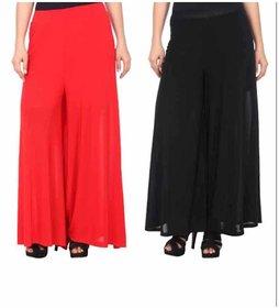 Women Red and Black Polycotton Plain Palazzo (Combo of 2 )