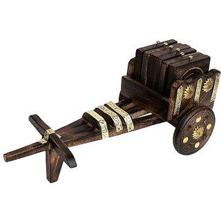 Handmadeo Artize Rajasthani Wooden Antique Beautiful Wooden Bullock Cart shaped Tea Coffee Coaster Set - Home Decor