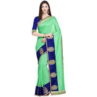 73efb38e354 Buy Triveni Sea Green Chanderi Silk Party Wear Embroidered Saree ...