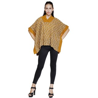 b9794c3d62e Renka Mustard Yellow Full Sleeves Knitted Acrylic Free Size Poncho For Women