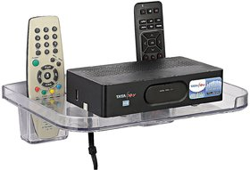 SSS - Set Top Box Stand with 2 Remote Holders (Colour - Clear)