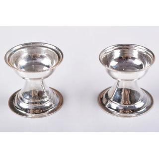 Silverz Silver Round Diya Set
