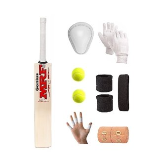 MRF Transparent Sticker Poplar/Popular Willow Cricket Bat (For Tennis Ball) Full Size Combo (Kit of 8 Items)