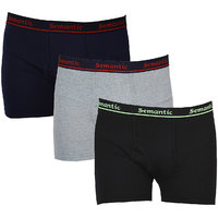 Semantic - Pack of 3 Plain Long Trunk for Mens - 100% Cotton Boxer Brief - Underwear Available in Black, Navy Blue & Grey Melange & in Sizes L (Large) with Regular Rise & Elastic Waistband