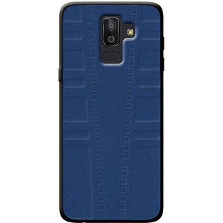 Cellmate Exclusive Soft Matte Fabric TPU Protection Designer Mobile Back Case Cover For Samsung Galaxy J8 - Blue