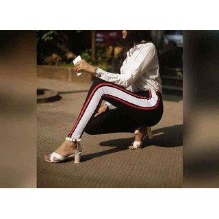 Code Yellow Women's Trendy Red Black White Side Stripe Jeggings Yoga Gym Wear