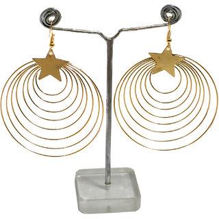prasi golden toned circular multi loop and hoop earrings