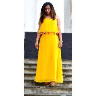 Raabta Fashion Yellow Long Dress with west Pom Pom