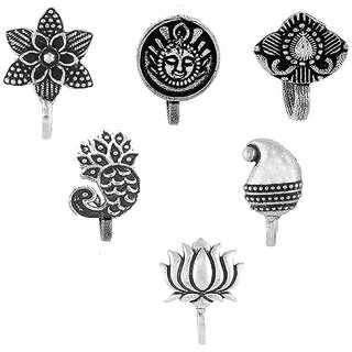 Om Jewells Silver Oxidised Immitation Jewellery Combo of 6 Classy Press on Nose Pin made for Girls and Women CO1000179
