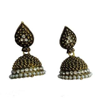 PEARL Jhumka Earrings,Small Silver Jhumkas,ethnic tribal earrings temple  Jewelry