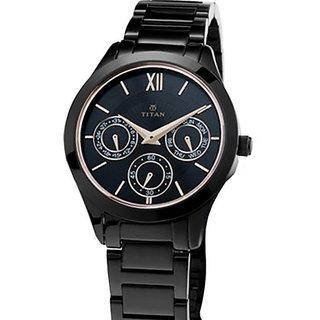 Titan Chronograph Black Dial Womens Watch-2570NM01