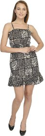YoO Fashions Black Animal Mini Dress For Women