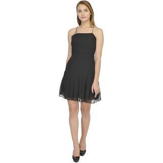 YoO Fashions Black Plain Mini Dress For Women