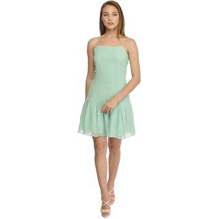 YoO Fashions Aqua Plain Mini Dress For Women